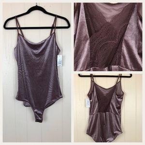 Gilligan & O' Malley Mauve Velvet Bodysuit Sz Med